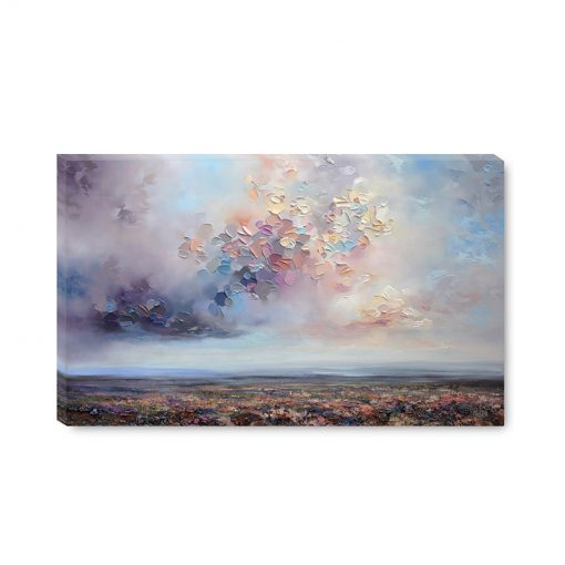 Giclee canvas art print for sale of a dramatic landscape with storm cloud sky by contemporary artist Melissa McKinnon titled After the Storm