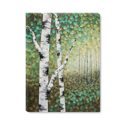 Affordable giclee art print on canvas of aspen trees and birch trees in autumn forest by Contemporary abstract landscape artist Melissa McKinnon title Bathed In Golden Light