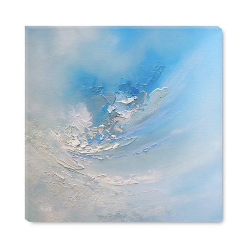 Abstract art print on canvas of cloudy blue sky by abstract artist Melissa McKinnon title Carried Away