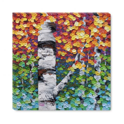 Affordable giclee art print on canvas of aspen and birch trees in autumn forest by contemporary landscape artist Melissa McKinnon title Colour Fest