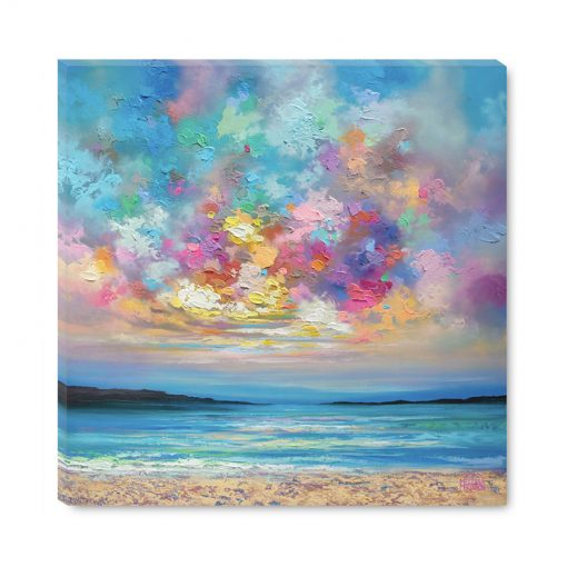 Affordable wall art print of ocean beach seascape and colorful sunset sky by contemporary artist Melissa McKinnon title Colourbration