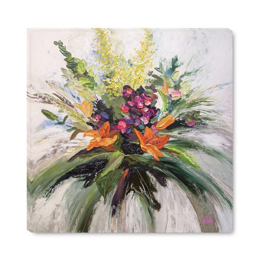 Flower art print of pink orange yellow floral arrangement by modern artist Melissa McKinnon title Gratitude and Joy