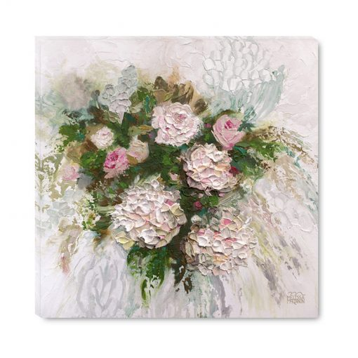 Affordable giclee flower art print on canvas of hydrangea and rose flowers by contemporary floral artist Melissa McKinnon