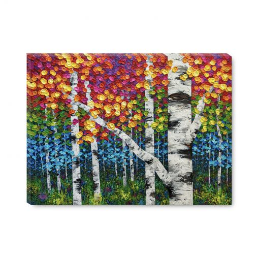 Large art print on canvas of colorful autumn aspen and birch trees by contemporary artist Melissa McKinnon title Jungle Fever
