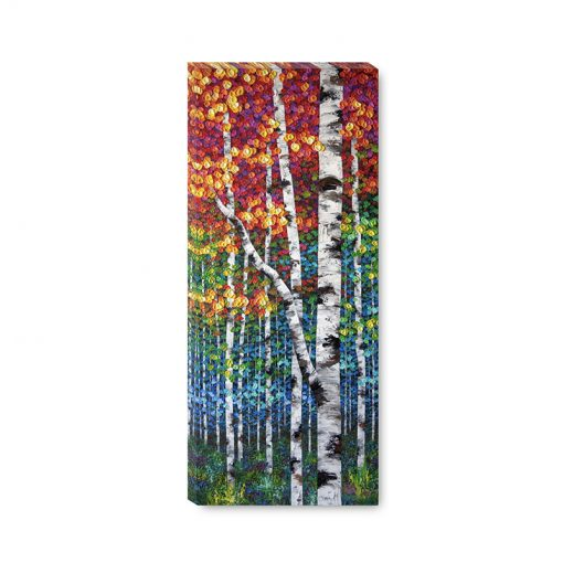Large wall art print on canvas of colorful autumn aspen and birch trees by contemporary artist Melissa McKinnon title Rise Above