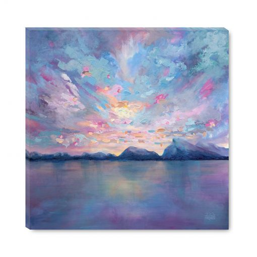 Affordable giclee art print on canvas of mountain landscape and colourful cloudy sunset sky by Contemporary Artist Melissa McKinnon title Rundle Sky