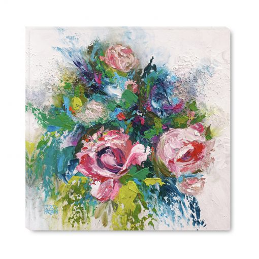 Colourful abstract flower art print of roses and peony flowers by modern floral artist Melissa McKinnon title Summer Disco