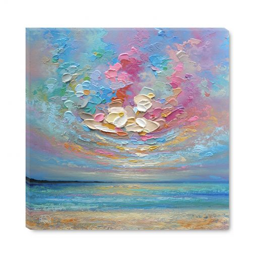 Fine Art Print of Colourful Ocean Sea Beach and Sunset Sky Cloud by Contemporary Landscape Artist Melissa McKinnon title Swirling Sky