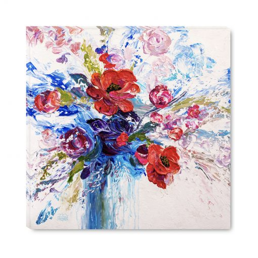 Flower art print on canvas of poppies and rose flowers by contemporary floral artist Melissa McKinnon title The Bravery of Enthusiasm