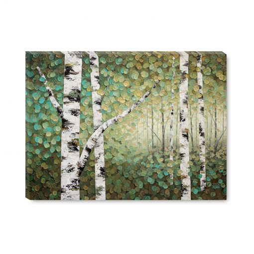 Affordable giclee art print on canvas of aspen trees and birch trees in autumn forest by Contemporary abstract landscape artist Melissa McKinnon title The Forest Through the Trees