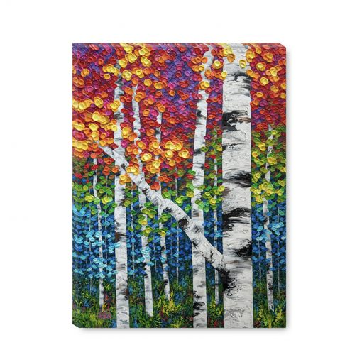 Large art print on canvas of colorful autumn aspen and birch trees by contemporary artist Melissa McKinnon title Vibrant Autumn