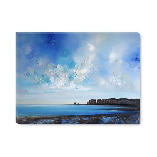 Landscape art print on canvas of blue ocean seascape and cloudy sunrise sky by contemporary landscape artist Melissa McKinnon title Where I Need To Be