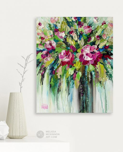 Fine art flower painting and modern floral art with texture by contemporary artist Melissa McKinnon title Party In Pink