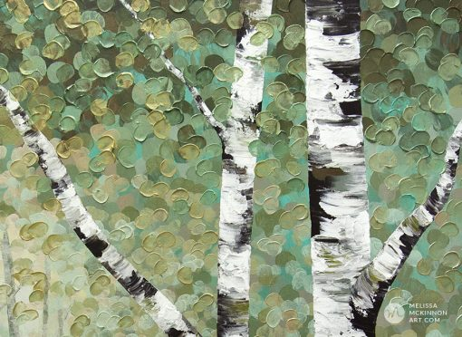 Nature tree art print on canvas of aspen and birch trees in forest by contemporary landscape artist Melissa McKinnon title Right Where I Left Them
