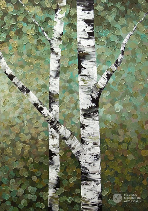 Tree art print on canvas of aspen and birch trees in forest by contemporary landscape artist Melissa McKinnon title Right Where I Left Them