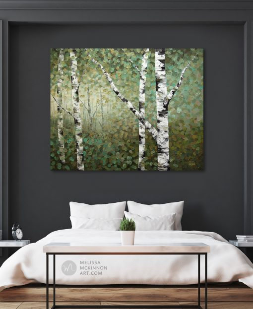 tree art print on canvas of aspen and birch trees in forest by artist Melissa McKinnon hanging in modern house title Right Where I Left Them