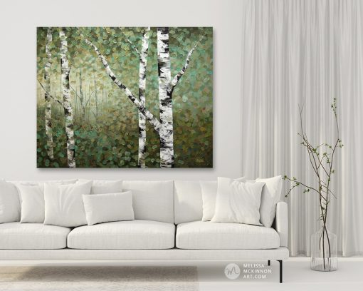 tree art print on canvas of aspen and birch trees in forest by artist Melissa McKinnon hanging in modern living room title Right Where I Left Them