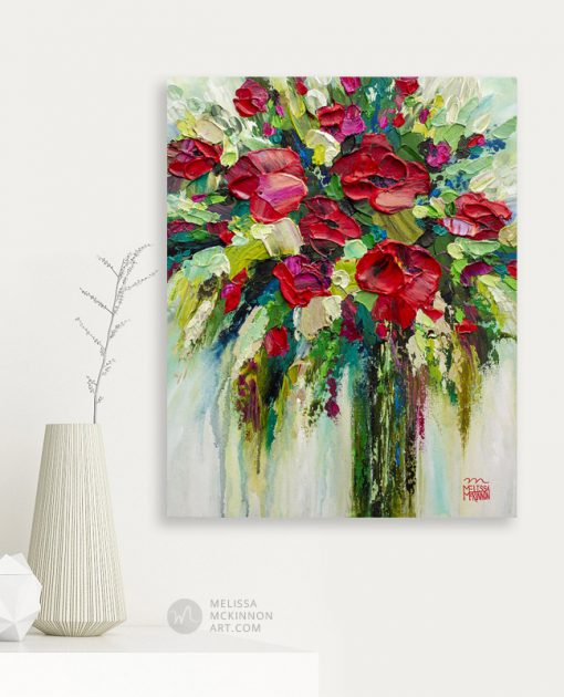 Red flower painting hanging in a modern home by contemporary artist painter Melissa McKinnon affordable art prints for sale