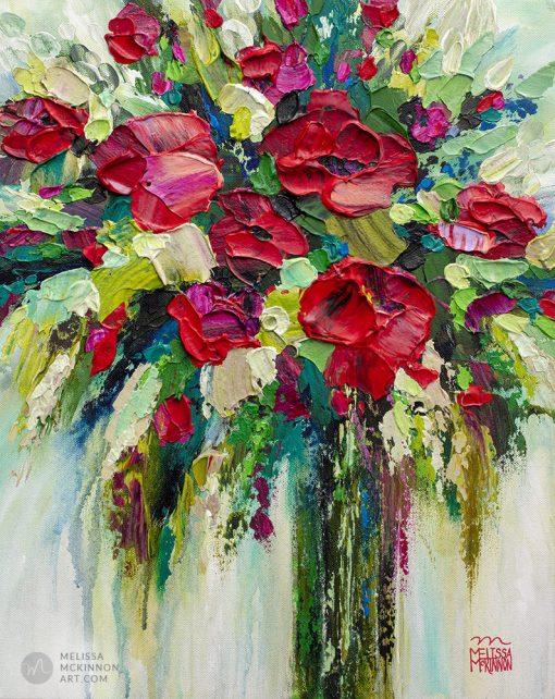 Acrylic painting of red flowers in a vase by contemporary artist Melissa McKinnon title Something To Celebrate