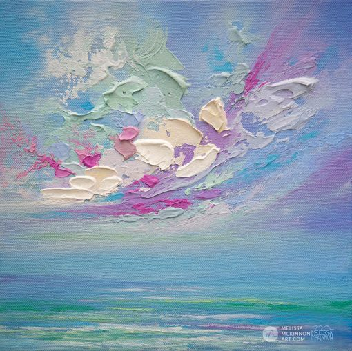 Affordable giclee art print on canvas of abstract seascape and sunset sky clouds by Contemporary Artist Melissa McKinnon title Swept Away
