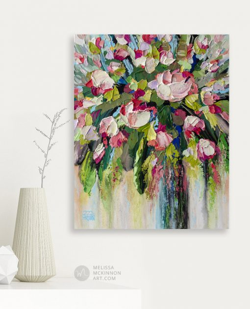 Modern pink flower bouquet painting and floral art prints by contemporary floral artist Melissa McKinnon Fine Art title Tickled Pink