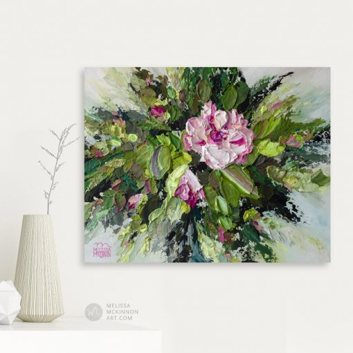 Modern acrylic floral painting of white and pink flowers by contemporary artist Melissa McKinnon fine art prints Title Bloom II