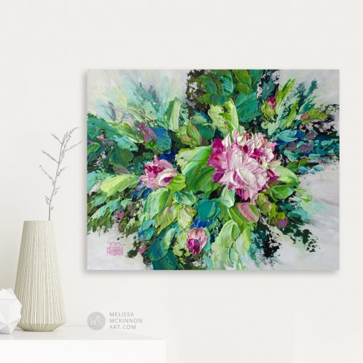 Original acrylic floral painting of pink peony flowers and roses by contemporary artist Melissa McKinnon fine art prints title Bloom I