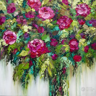 Colorful acrylic floral bouquet painting of red roses and pink flowers by contemporary artist Melissa McKinnon fine art prints title For You My Love