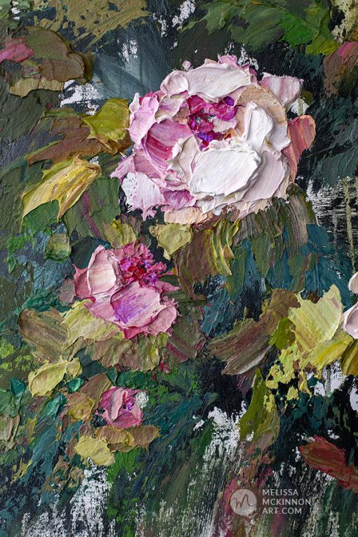 Original acrylic floral painting of pink roses and white flowers by contemporary artist Melissa McKinnon fine art prints title In Full Bloom