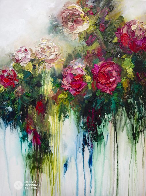 Modern flower painting of red roses and and white flowers by contemporary artist Melissa McKinnon title Metamorphosis