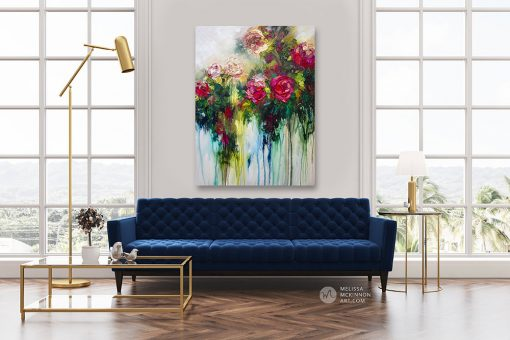 Modern interior living room with large flower painting of red roses and and white flowers by contemporary artist Melissa McKinnon title Metamorphosis