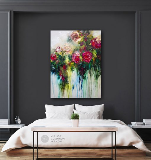 Modern interior dark bedroom with large flower painting of red roses and and white flowers by contemporary artist Melissa McKinnon title Metamorphosis
