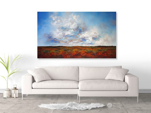Landscape Painting in Living Room of Autumn Prairies Clouds Sunset Sky by Abstract Landscape Painter Melissa McKinnon Artist