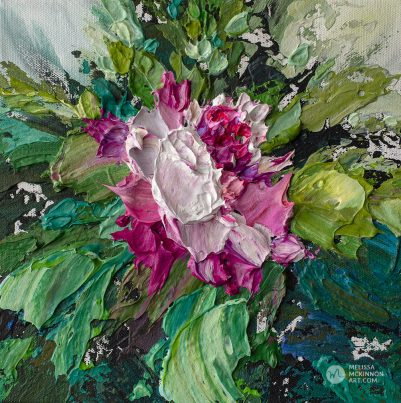 Contemporary flower painting of single pink spring bloom by floral artist Melissa McKinnon fine art prints Title Bloom 10
