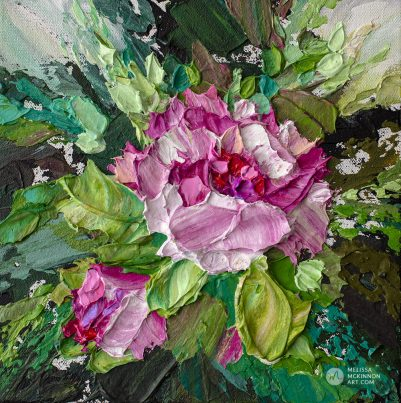 Small floral painting of white and pink flowers by Canadian artist Melissa McKinnon fine art prints Title Bloom 11