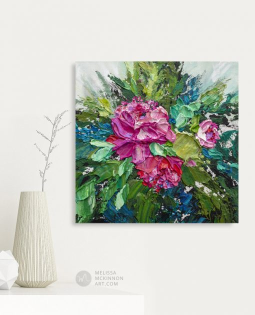 Modern abstract floral painting of red roses and pink flowers by contemporary artist Melissa McKinnon fine art prints Title Bloom 12