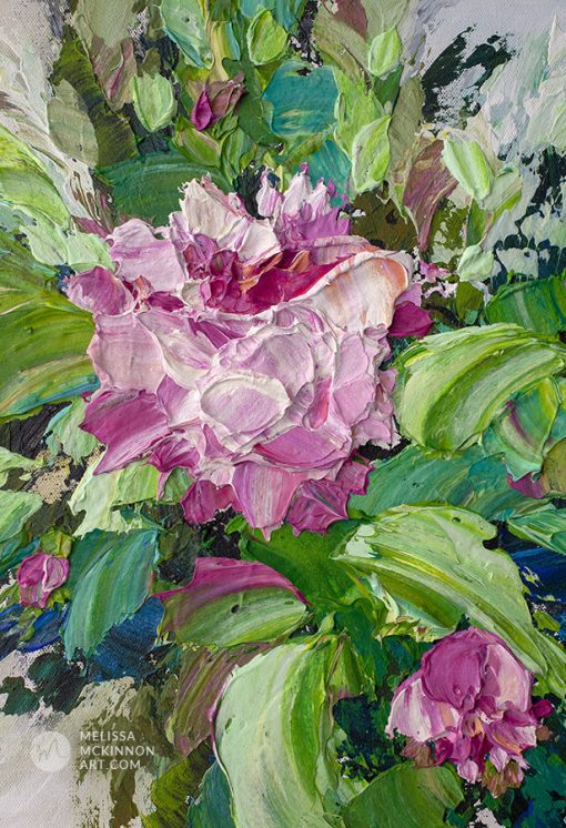 Modern abstract floral painting of pink roses and peony flowers by contemporary artist Melissa McKinnon fine art prints Title BLOOM III