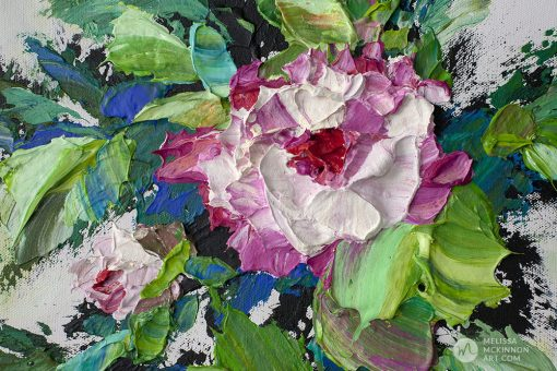 Textured floral painting of white roses and pink flowers by contemporary artist Melissa McKinnon fine art prints Title Bloom IV