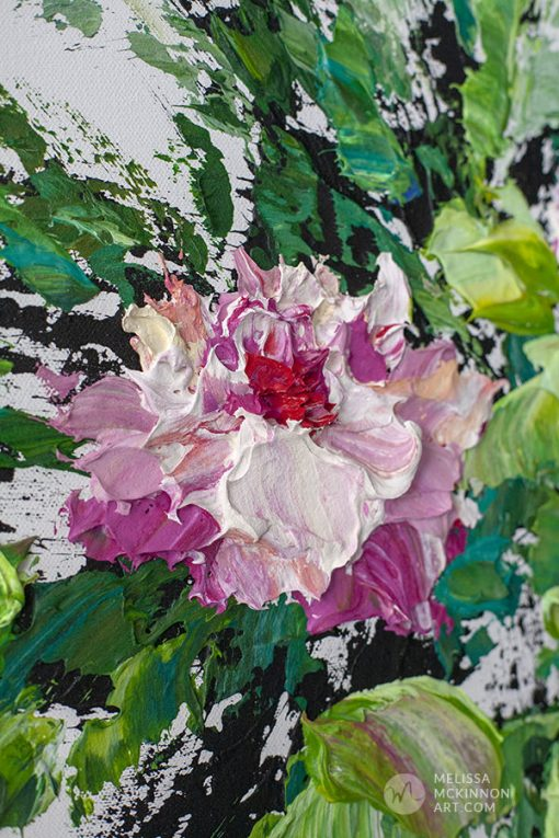 Contemporary floral painting of pink and white flowers by modern artist Melissa McKinnon fine art prints Title Bloom V