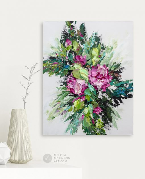 Colorful flower painting of pink florals by contemporary artist Melissa McKinnon fine art prints Title Bloom VII