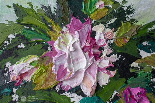 Modern abstract acrylic flower painting of pink peony blooms by contemporary floral artist Melissa McKinnon fine art Title Bloom 8