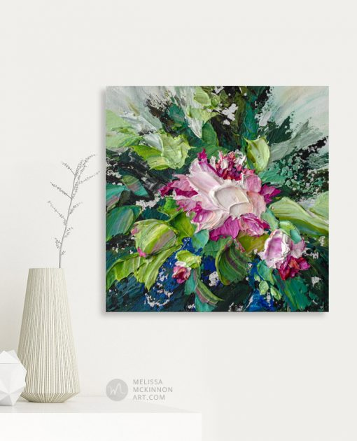Modern abstract flower painting of white and pink floral blooms by contemporary artist Melissa McKinnon fine art prints Title Bloom 9