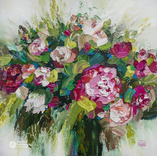 Fine art abstract flower painting and floral art by contemporary artist Melissa McKinnon painted with palette knife and thick impasto texture.