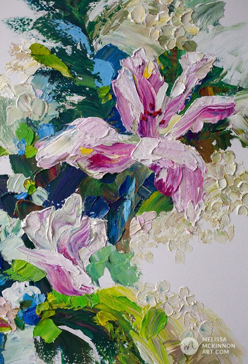 Original modern abstract floral painting of tropical white and pink lily flowers by contemporary artist Melissa McKinnon fine art prints Title In the Tropics