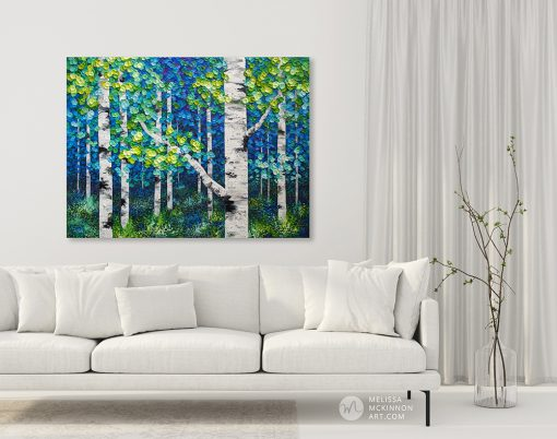 Large original painting of green, blue, yellow aspen trees and birch trees in autumn forest by Canadian abstract landscape artist Melissa McKinnon created with a palette knife and thick texture