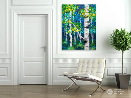 Fine art original painting of green, blue, yellow aspen trees and birch trees in autumn forest by Canadian abstract landscape artist Melissa McKinnon created with a palette knife and thick texture