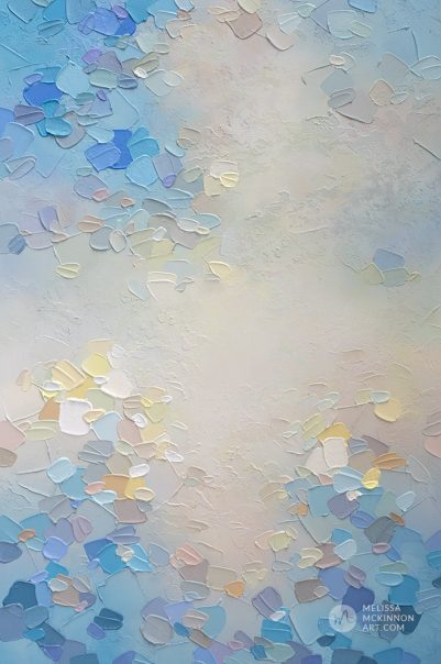 Pale blue abstract painting of clouds and sky Giclee art print on canvas by contemporary abstract artist Melissa McKinnon painted with palette knife and impasto texture - Morning Glow III