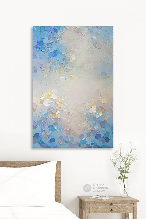 Pale blue abstract painting of clouds and sky in modern white bedroom Giclee art print on canvas by contemporary abstract artist Melissa McKinnon painted with palette knife and impasto texture - Morning Glow III