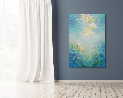 Tuquoise and blue abstract painting of sunlit sky and clouds Giclee art print on canvas by contemporary abstract artist Melissa McKinnon painted with palette knife and impasto texture - Tranquil Garden III