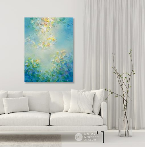 Abstract teal blue cloudy sky painting Giclee art print on canvas by Canadian abstract artist Melissa McKinnon painted with palette knife and impasto texture - Tranquil Garden IV